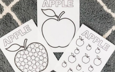 Apple Fine Motor and Coloring Printable Activities for Toddlers