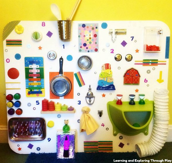 DIY Sensory board ideas to encourage your busy babies and toddlers to explore new textures, objects, and incorporate fine motor skills.