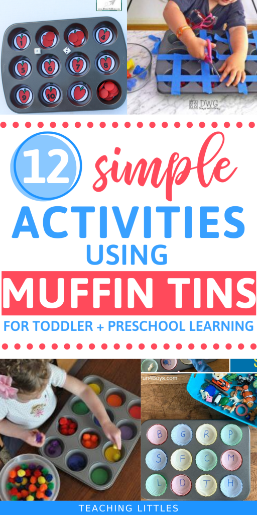 Use these simple muffin tin activities to come up with new ways to teach your toddlers & preschoolers. Using household items your child can learn new developmental skills to take them to the next level of learning. They will learn colors, letters, numbers, shapes, counting, cutting, and so much more. Easy and little prep to set up.