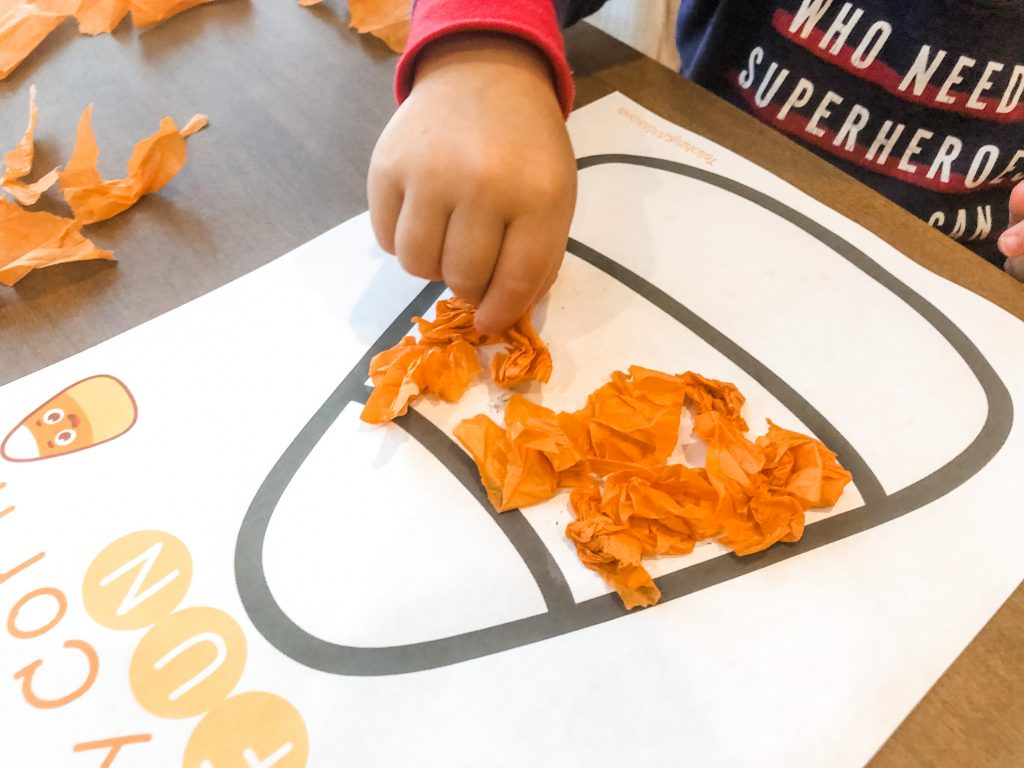 This simple fall fine motor activity will get your toddler or preschooler using their hands, and learning new fall colors & objects