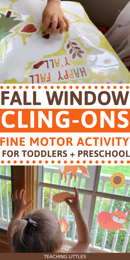 Use this fall window cling on activity with your toddler to work on fine motor skills and language while teaching them about new fall objects. Watch them use a pincer grasp to hold on to the cling on and they'll love seeing their beautiful creation shine in through the light.