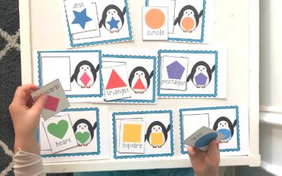 Winter Penguin Shape Match Free Printable