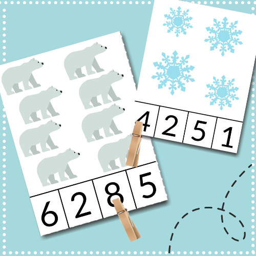 This free printable winter activity involves counting, fine motor skills, & learning for toddlers & preschoolers learning number recognition