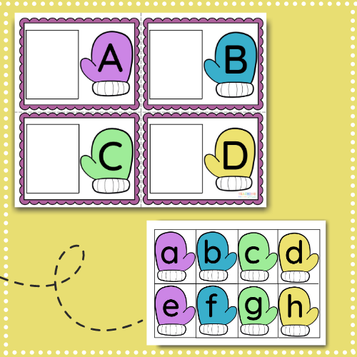 Teach children how to recognize & match uppercase and lowercase letters with this free printable winter activity for toddlers & preschoolers