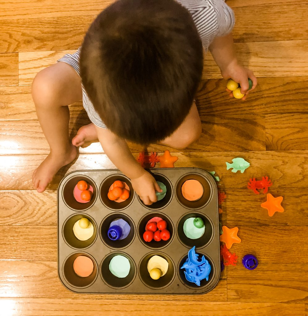 Sorting colors is a quick and simple activity to do with your toddler- they will have so much fun, they will not even notice how much learning is going on!