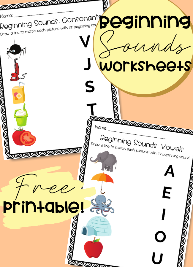 These beginning sounds worksheets free printable is a 6 page activity that will help preschoolers or kindergarteners develop phonics & phonemic awareness in preparation for early reading.