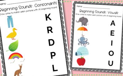 Beginning Sounds Worksheets – Free Printable for Preschool