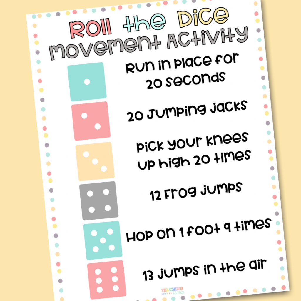 This DIY dice movement break activity for preschoolers requires minimal materials and is easy to get everyone moving!