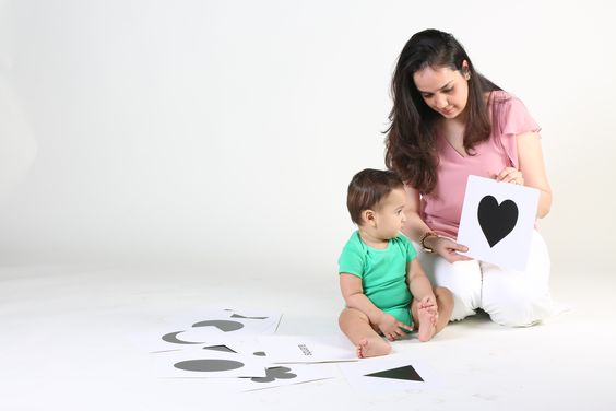 Your baby's vision is not fully developed. Using high contrast cards for babies will increase their visual development.
