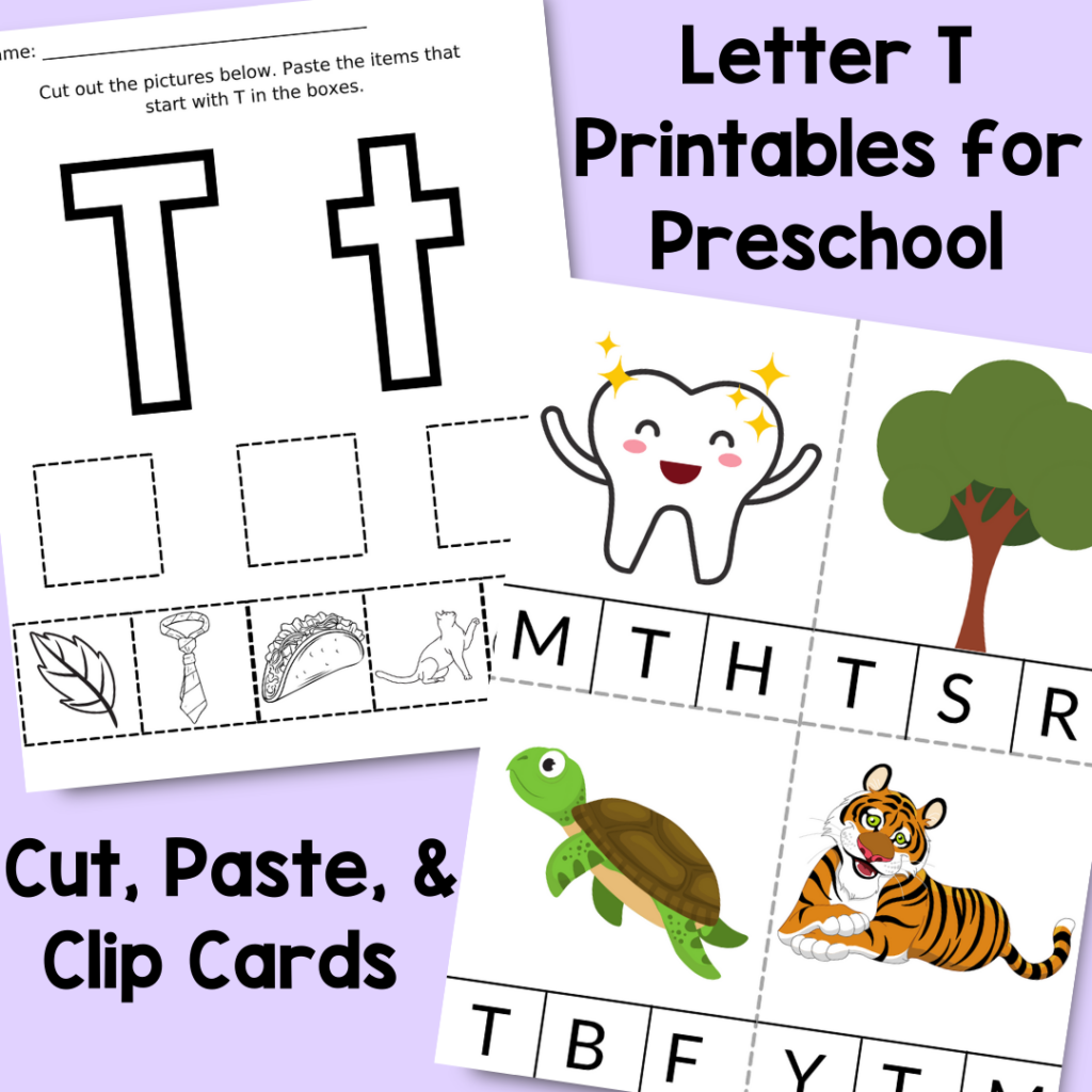 Theses letter T printables for preschoolers give students the opportunity to learn the letter T in no-prep fine motor and sensory activities.