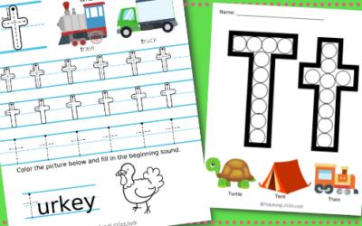 Letter T Printables: Alphabet Learning Worksheets for Preschoolers