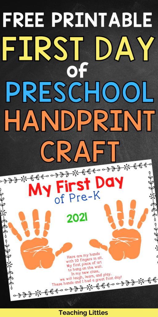 Use this first day of preschool handprint craft and activity for your little ones to decorate the room and a keepsake for parents