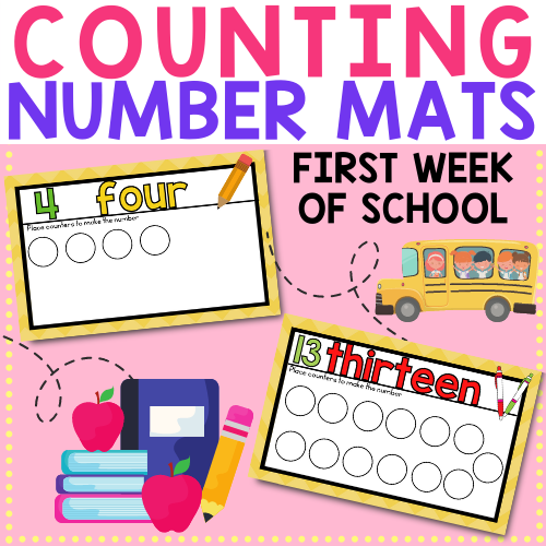 Use these counting mats during the first week or preschool or pre-k to get your students learning numbers and counting in no time