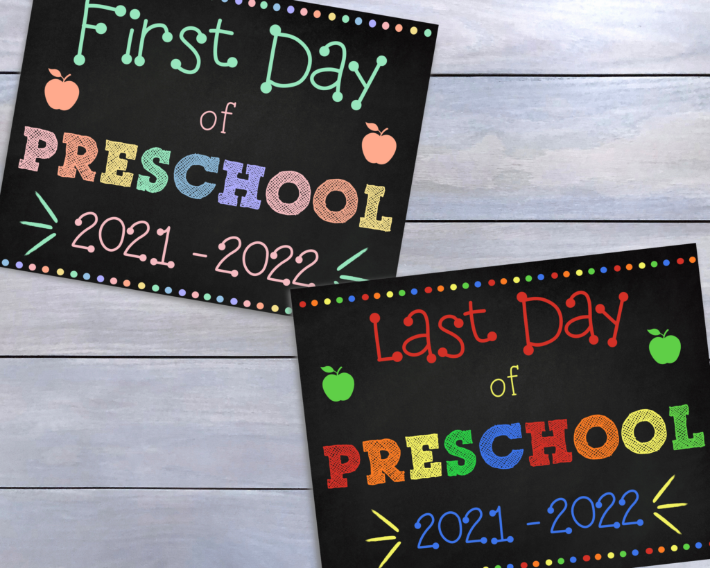 First and Last Day of Preschool Signs for memory photos