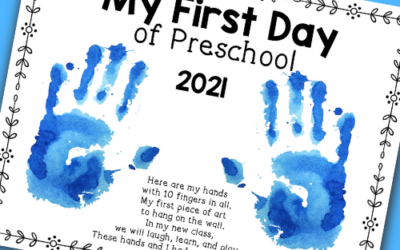 First Day of Preschool Handprint Sign Activity- Free Printable