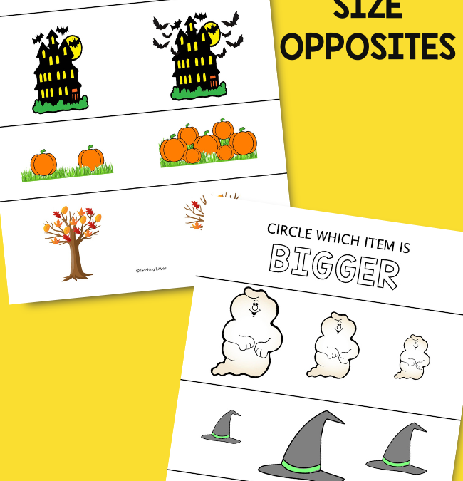 Halloween Printables for Preschoolers: Size Opposite